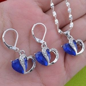Jewelry - 15+ TCW SAPPHIRE ~ 925 STAMPED STERLING SILVER